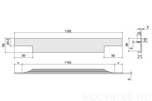 Ручка врезная (торцевая) L.1195 мм